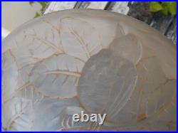Petite vasque lustre plafonnier Carrillo france décor opalescent d'oiseaux 1930