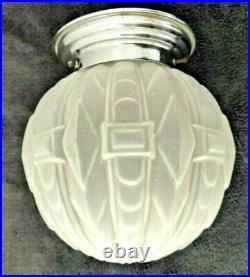 Plafonnier boule verre et chrome ART DECO 1930