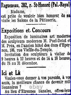 Puel-detot & Muller Frères Lampe Art Déco Bronze Nickelé & Obus Pte De Verre