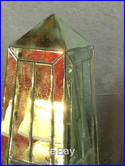Pyramide en plaques de verre, verre vieilli de style Art Déco de 1 m 53 de haut