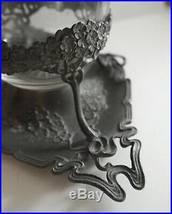 Rare Bonbonnière Art Nouveau Deco Cristal Verre Etain Confiturier Boîte Ancien