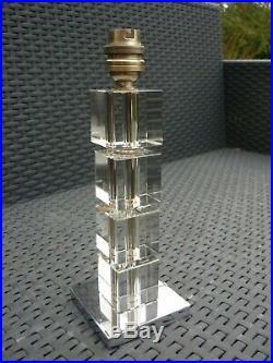 Rare Pied De Lampe Art Deco Moderniste Jacques Adnet Cubes De Verre Tailles 1930