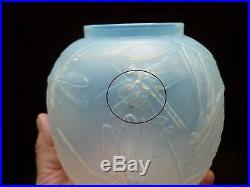 Rare Vase Art Deco Verre Opalescent Aux Libellules Marius Sabino Paris 1930