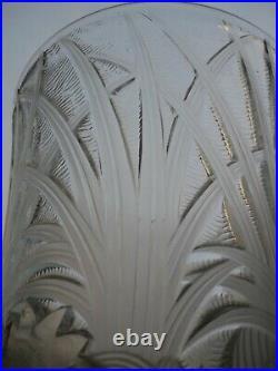 Rare Vase Verlys France Art Deco Verre Moule Depoli Decor De Coqs Vers 1930
