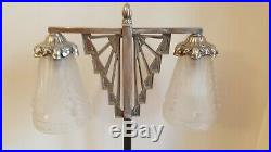 Rare lampe ART Déco potence en bronze argentée verres Schneider 1925