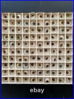 Rare lot de 100 prothèses oculaires ancienne verre et porcelaine oeil yeux globe