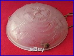 SEVB 1930 Art déco Suspension Vasque en pate de verre Ancien Lustre