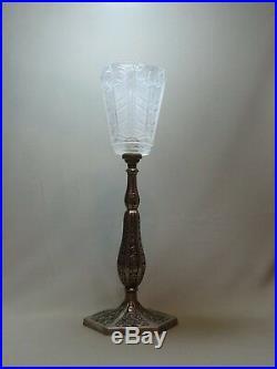 SUPERBE LAMPE ART DECO en BRONZE NICKELÉ & TULIPE VERRE MOULE PRESSE, era MULLER