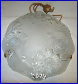 SUSPENSION LUSTRE ART DECO VASQUE VERRE / french art glas lamp