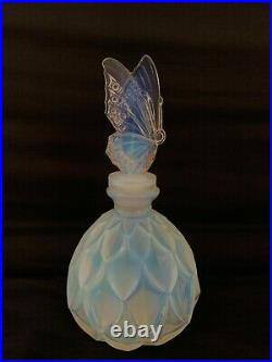Sabino France rare flacon verre opalescent papillon Art Deco Etling Verlys