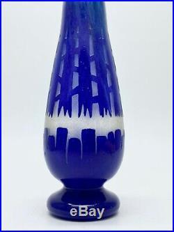 Schneider Le verre français vase Chicorée signé au berlingot époque Art Déco