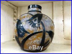 Splendide Vase Art Deco Le Verre Francais Verre Degage A L'acide