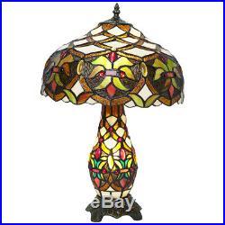 Style Tiffany Verre 2 Voie Table Ampoule Lampe en Abat-Jour et Base Art Déco