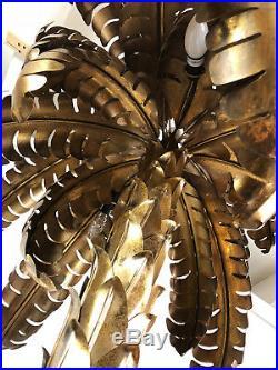 Superbe Lampadaire De Style Jansen Des Années 70 En Forme De Palmier En Métal