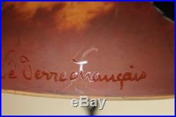 Superbe Lustre Art Déco, Pâte de Verre, signé Le Verre Français