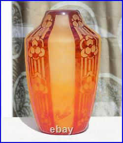 Superbe Vase Rosaces Pate De Verre Art Deco Schneider Le Verre Francais 1930