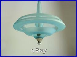 Superbe lustre, suspension en verre sablé bleu, plafonnier Art Déco à 2 feux