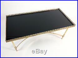 Table Basse De Style Bagues Des Années 70 En Laiton Doré Et Verre De 100 CM Long