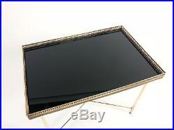 Table Basse De Style Bagues Des Années 70 En Laiton Doré Et Verre Noir 47cm H