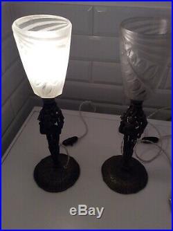 Tres Belle Paire De Lampes Art Déco En Fer Et Tulipes Signées Degue 1930
