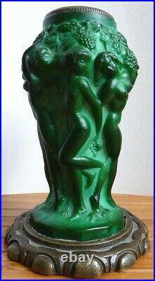 Vase ART DECO de Heinrich Hoffmann (1875-1939) Bohème bougeoir femme nue