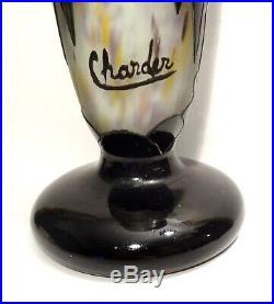 Vase Art Deco Art Nouveau 1925 Signe Charder Schneider Le Verre Francais