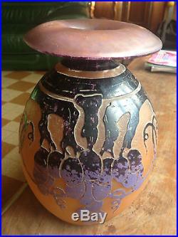 Vase Le Verre Francais Art Deco 23.5cm