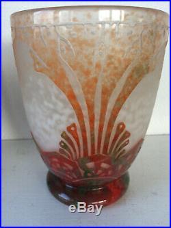 Vase art déco Le Verre Français Charder signé et authentique