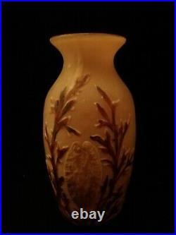 Vase en verre givré signé LEGRAS art deco vers 1900