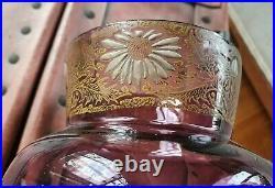 Vase verre émaillé Legras décor de marguerites art nouveau art déco