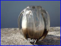 Vase verre fume Schneider d'époque Art Deco