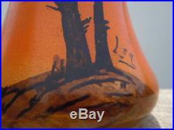 Vases verre peint décor voiliers bateau Legras époque Art Nouveau
