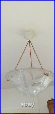 Vasque Art déco en Verre verre moulé pressé, luminaire suspension, pendant light