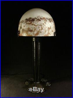 Vasseur & Lorrain Lampe Art Déco Cataloguée En Fer Forgé & Obus Verre Nuagé