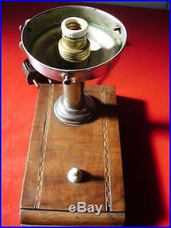 Vintage art deco lampe de table opaline glass 1930/40. Base en acajou